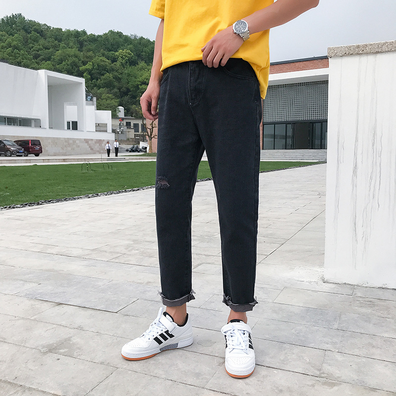 Summer Jeans Men Capri Harem Pants Elasticity Straight Slim Youth Skinny 9 Points Popular Brand Thin
