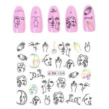 1 лист черная линия Красочные абстрактные наклейки для ногтей наклейки сексуальная девушка Водная передача слайдер для украшения ногтей в том числе 12 изображений