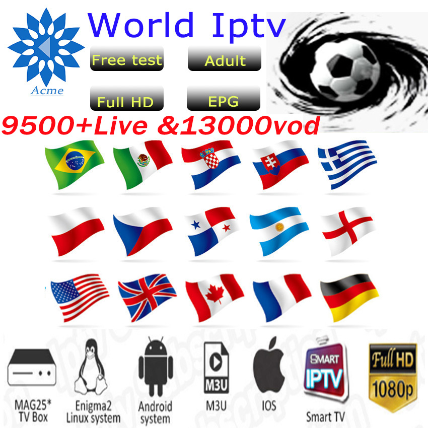 Italy IPTV Europe 9500Channel M3u Subscription Iptv UK Italy Spain France Germany Portugal Voor Android Box Enigma2 M3u Smart TV