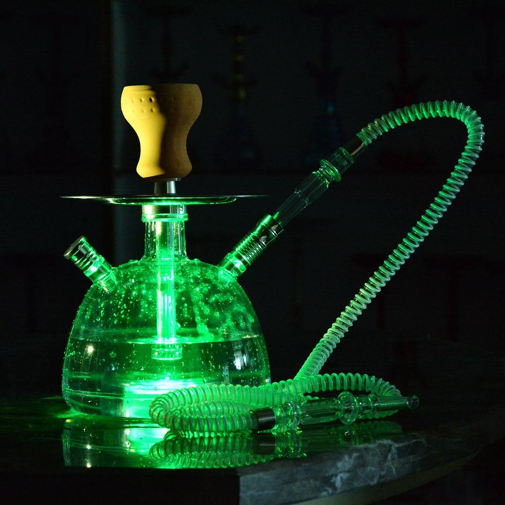 Transparent Acrylic Shisha Pipe Hookah Set with LED Light Ceramic Bowl