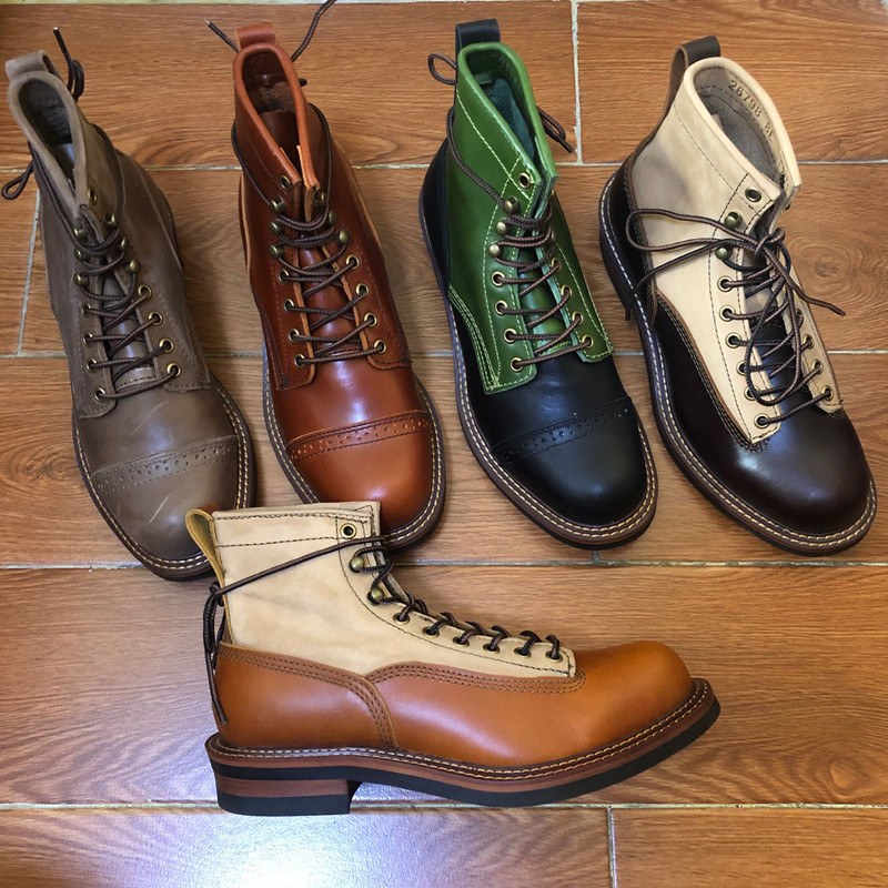 Handmade New Vintage Ankle Boots Genuine Leather Men Casual White Shoes Top Quality Round Toe Men Dress Work  Motorcycle Boots