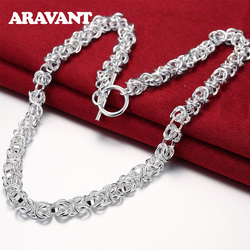 925 Sterling Silver 7mm 18 Inches Chain Necklaces For Men Women Fashion Statement Necklace Silver Jewelry