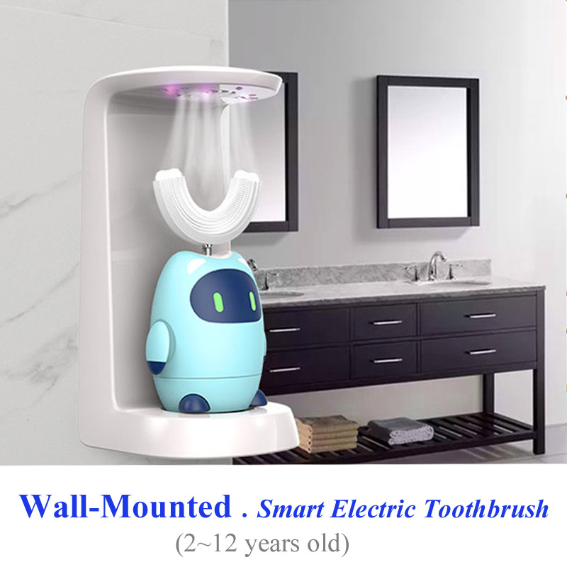 360 degree U shaped smart sonic electric toothbrush for kids wall-mounted rechargeable children waterproof automatic tooth brush