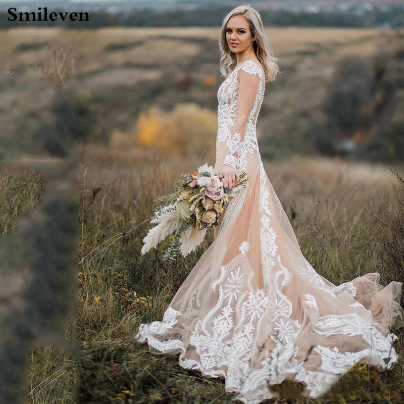 Smileven Mermaid Wedding Dress 2020 Champagne Lace Boho Bride Dresses Long Sleeves Vestido De Casamento Elegant Wedding Gowns