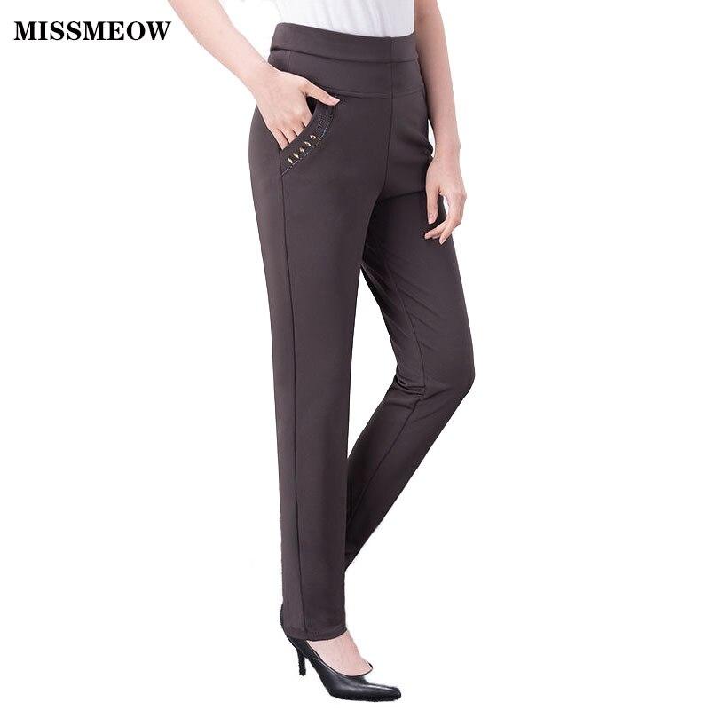 MISSMEOW  Winter Pants Women Slim Fit Casual Office Women's Pants Pantalon Femme Warm High Waist Pants Trousers Women Leggings