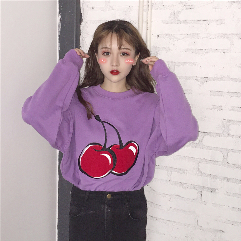 2018 Autumn Clothing New Style College Style Printed Loose-Fit Casual Versatile Crew Neck Long Sleeve Purple Fleece Tops Student