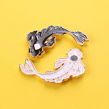 Lovely Goldfish Badges on Backpack Cod Fish Black and White Good Wish Gifts Brooch Lucky Jewelry Diving Clothes Metal Badge DIY