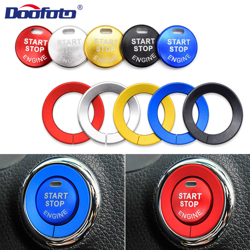 Doofoto Car Interior Sticker Start Stop Engine Button Cover Ring For Nissan Qashqai X-trail T32 Rogue Murano Teana Accessories