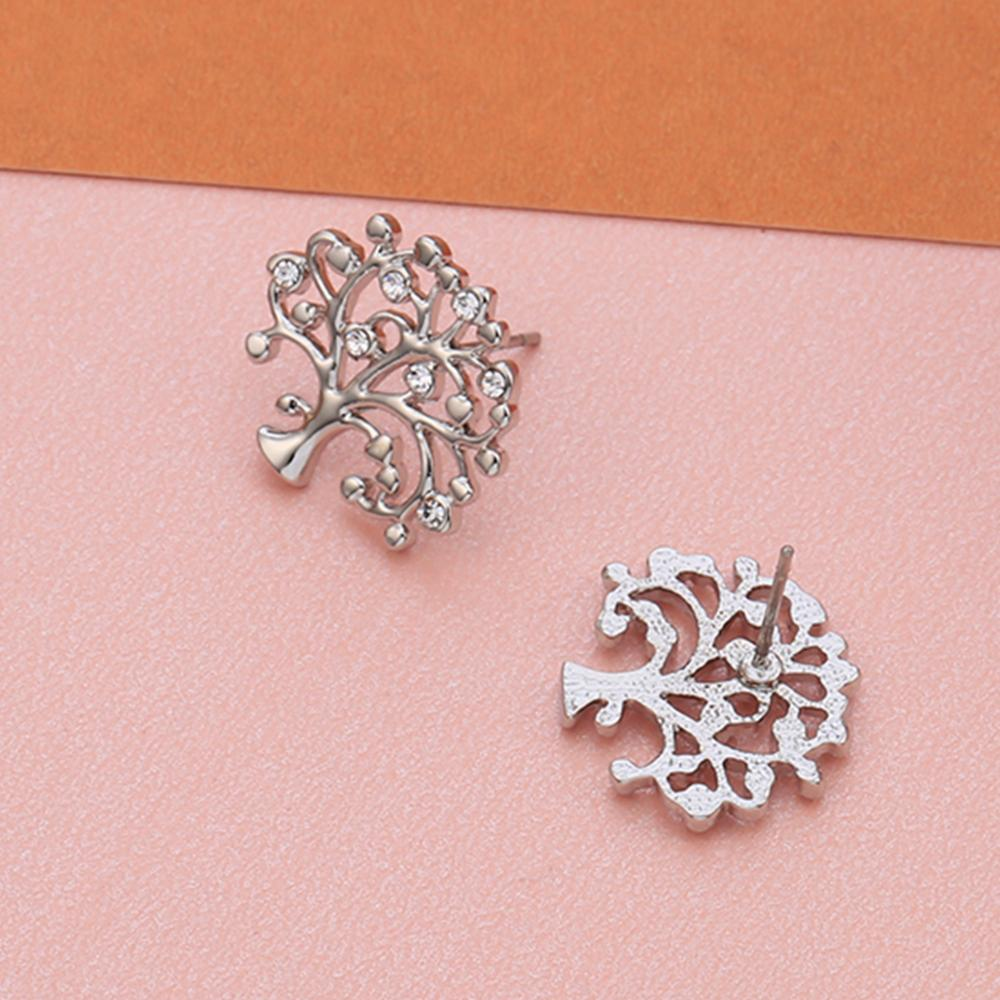 Small Tree Of Life Stud Earrings For Women Silver Plated female Crystal Earrings Fashion Jewelry Accessories 2020 Dropshipping