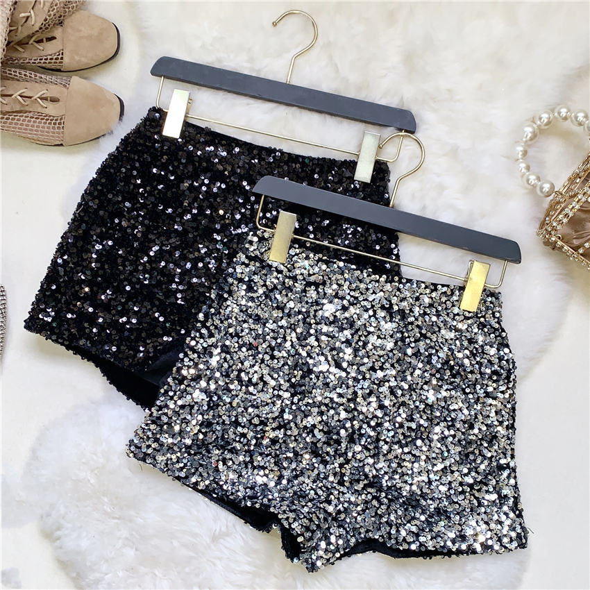2020 Spring Boots Shorts Woman Heavy Industry Sequined Shorts Women's Sliver Shirts Female Nancylim