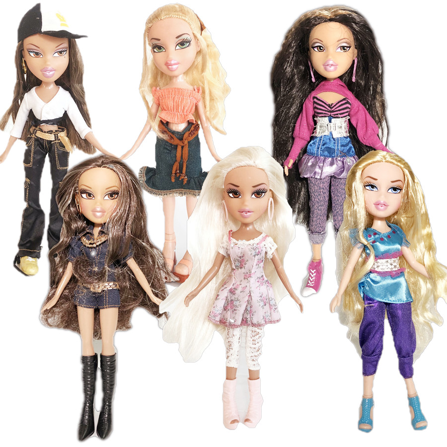 Novo 23cm bonecas original mgadoll raro cabelo branco lábios grandes lazer gir moda bratz boneca figura de ação boneca melhor presente