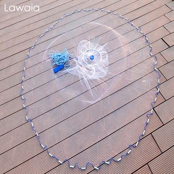 Lawaia Aluminum Ring Style Fishing Net Monofilament Nylon Line Hand Throwing Fishnet Diameter 240cm-720cm Folding Network