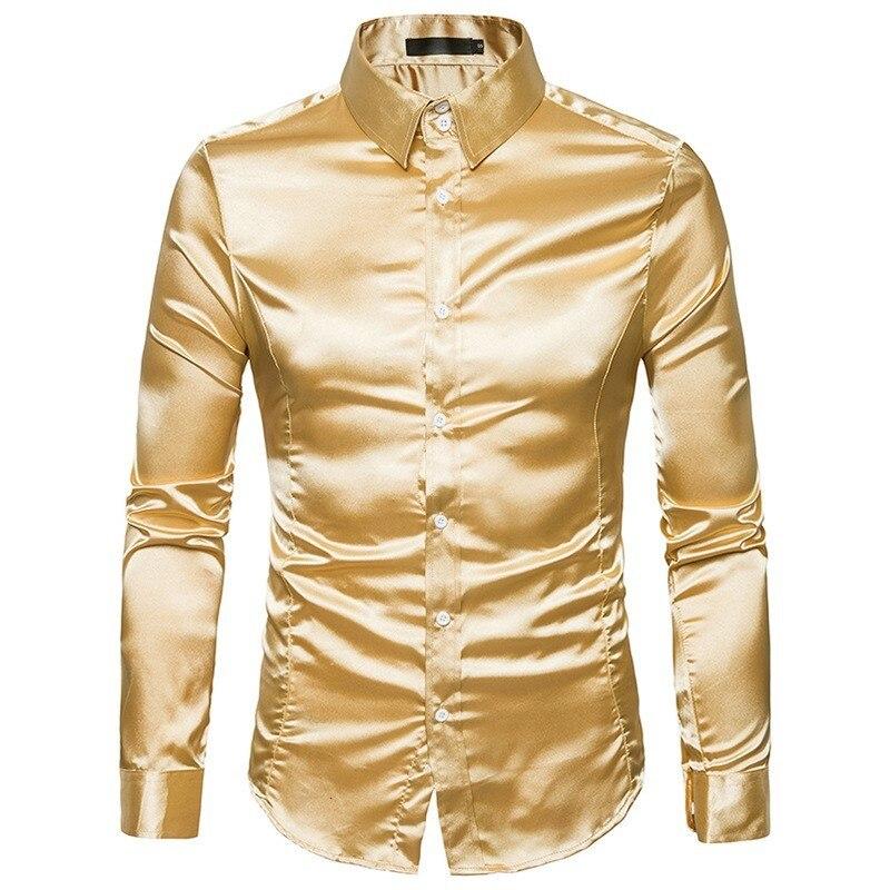 Chemise en soie hommes 2019 Satin lisse hommes Chemise de smoking solide Chemise Homme décontracté Slim Fit brillant or robe de mariée chemises