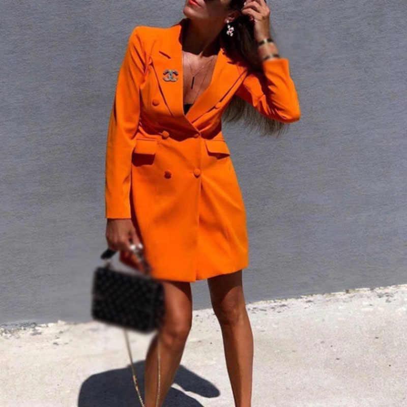 女性ドレスブレザースーツ秋の新ビジネスラペル長袖スリムフィットボタン固体エレガントな v ネックのセクシーなドレス