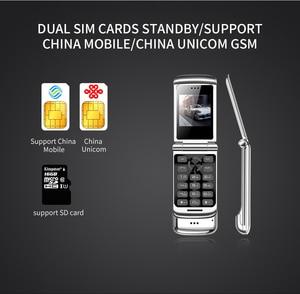 "Image 2 - Original Ulcool V9 Luxury Flip Phone 1.54"" Dual Sim Camera MP3 Bluetooth FM Dialer Anti lost Metal Body Mini Mobile Phone"