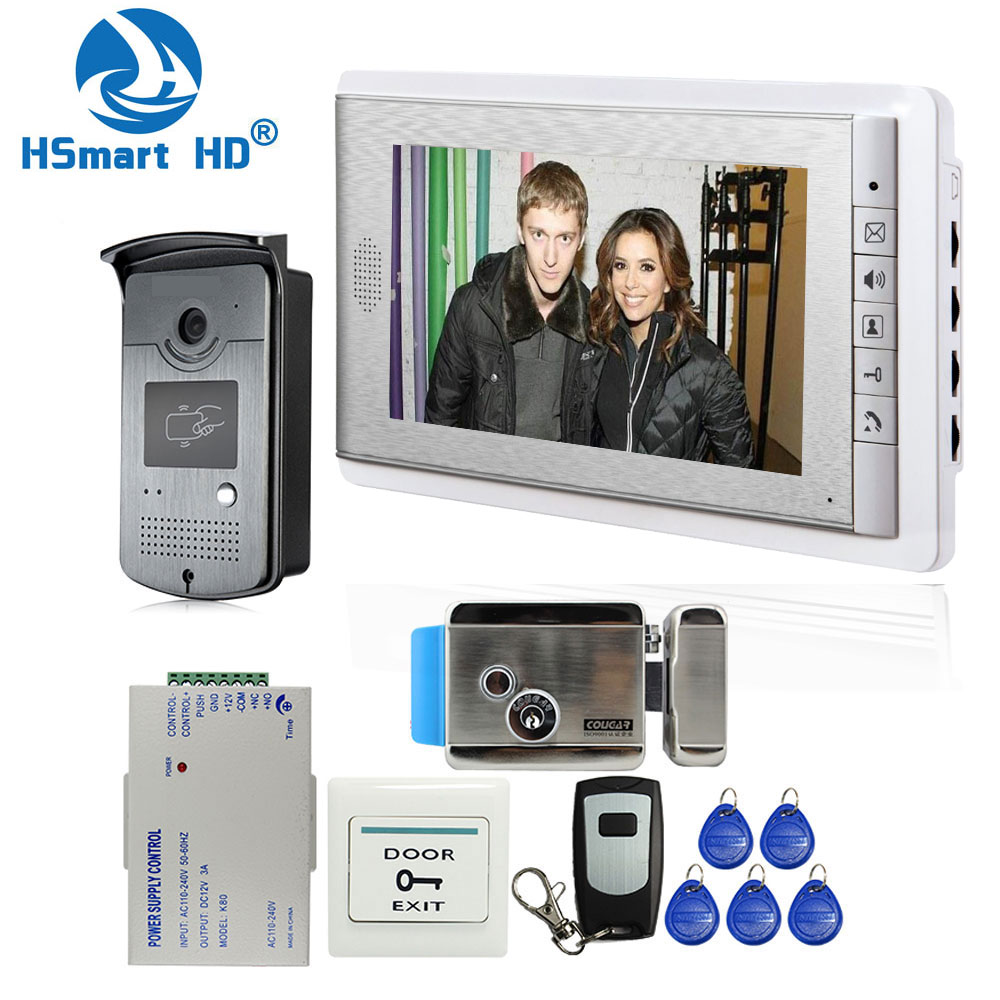 Home Wired 7 Inch Video Door Phone Intercom Entry System 1 Monitor + 1 RFID Access IR Camera + Electric Control Door Lock