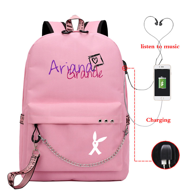 Ariana Grande Print Mochilas Bags Girls USB Charging Backpack School Bags College Bookbag Students Laptop Travel Rucksack Bag