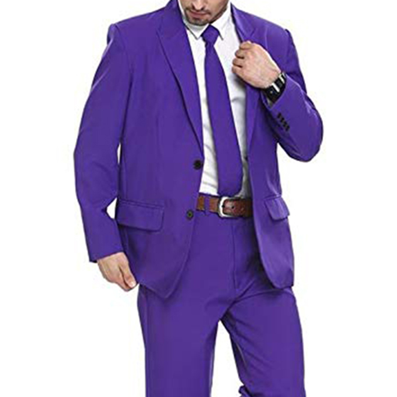Purple Two Buttons Mens Party Suit Solid Color Leisure Suit For Holiday Party Two Pieces Suit Jacket With Tie & Pants