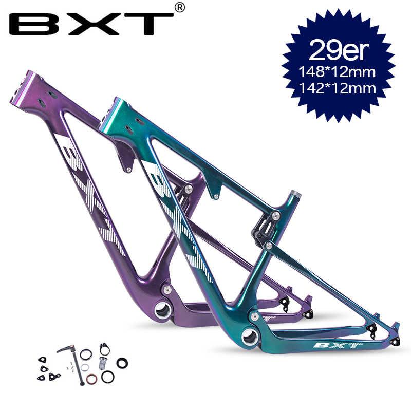 """BXT vélo carbone vtt suspension cadre 29er bicicletas VTT choc vélo partie carbone cadre 1-1/8 """"à 1-1/2"""" casque Tube"""