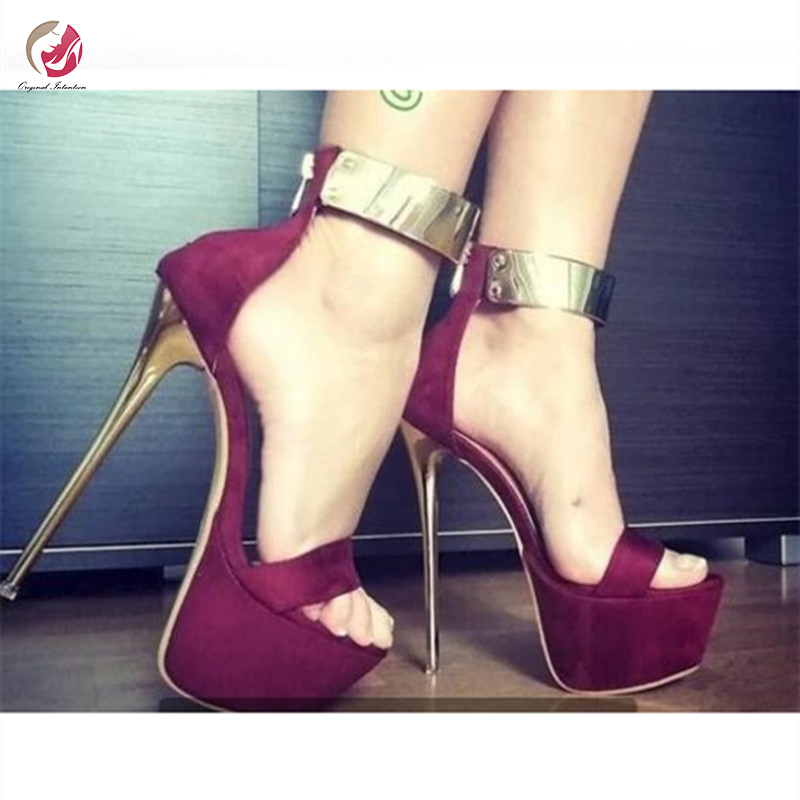 Original Intention Super Popular Metal Ankle Wide Lace Pumps Woman Stylish Peep Toe Thin High Metal Heels Shoes Woman Plus Size