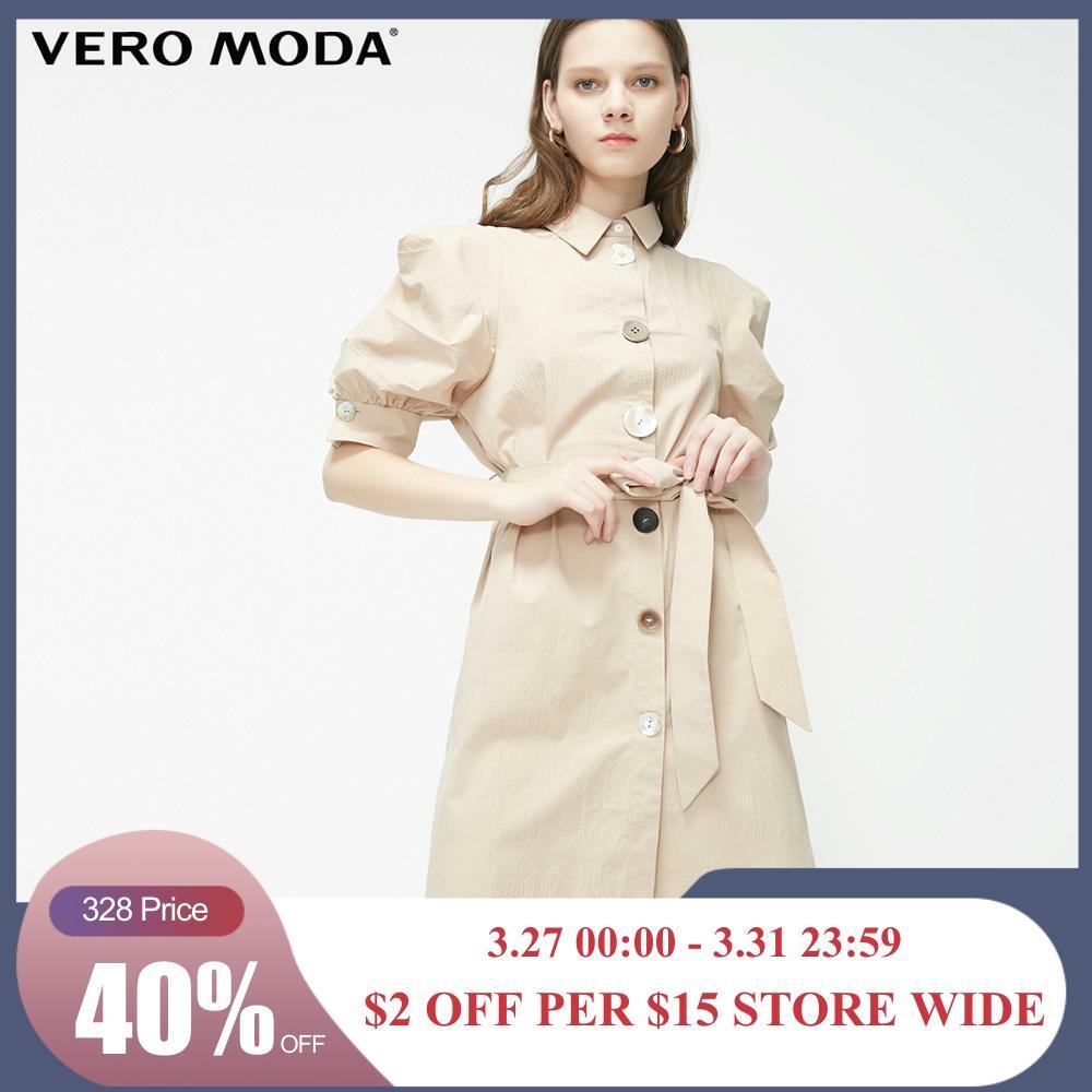 Vero Moda Women's OL Style Puff Sleeves Irregular Buttons Shirt Dress | 31926Z577