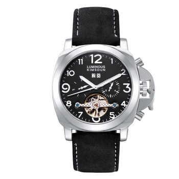 KIMSDUN Echt Bruin Lederen Tourbillon Automatische Mechanische Horloge Waterdicht Lichtgevende Business Mannen Horloge Relogio M