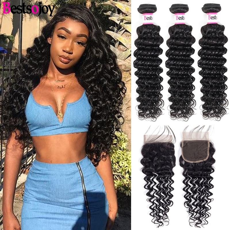 Bestsojoy Deep Wave Bundles With Closure Remy Human Hair 3 Bundles With Closure Mink Brazilian Hair Weave Bundles With Closure
