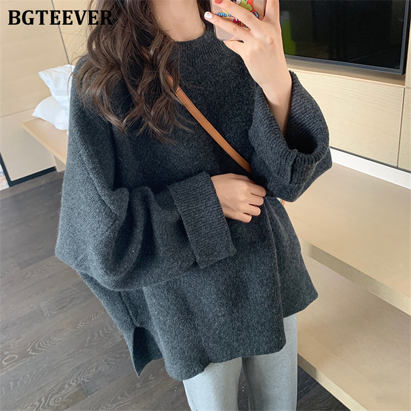 BGTEEVER Stylish Oversized Women Sweaters Solid O-neck Female Knitting Pullovers Solid Winter Tops Jumpers Femme 2019 Pull Femme
