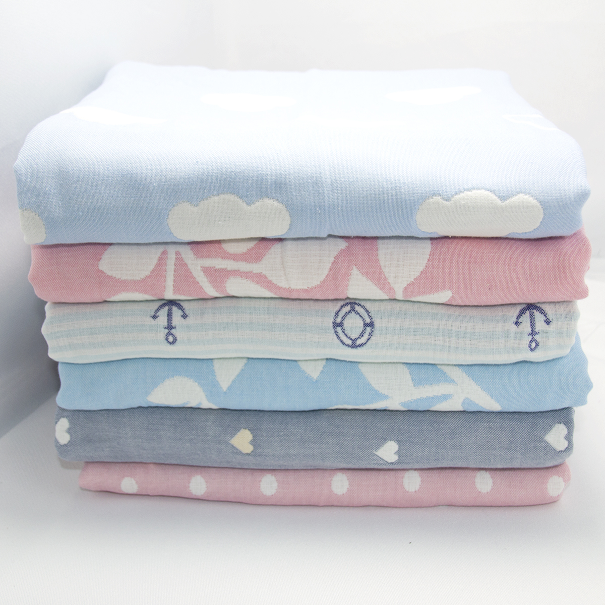 New Soft Baby Blankets 100% Muslin Cotton 6 Layers Newborn Swaddling Four Seasons Baby Swaddle Bedding Receiving Blanket 2 Size
