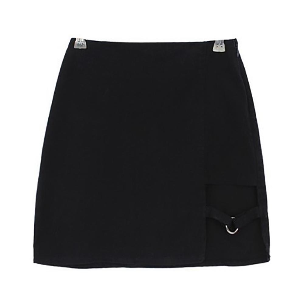 <font><b>Sexy</b></font> Irregular Cotton Punk High Waist <font><b>Pencil</b></font> <font><b>Bandage</b></font> <font><b>Skirt</b></font> Mini <font><b>Bodycon</b></font> Short <font><b>Skirt</b></font> Black Slim Women image