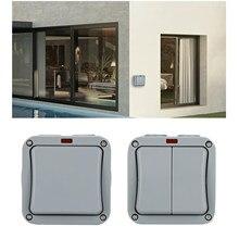 Interruptor de pared externo IP65, resistente al agua, a prueba de polvo, para exteriores, interruptor individual/doble