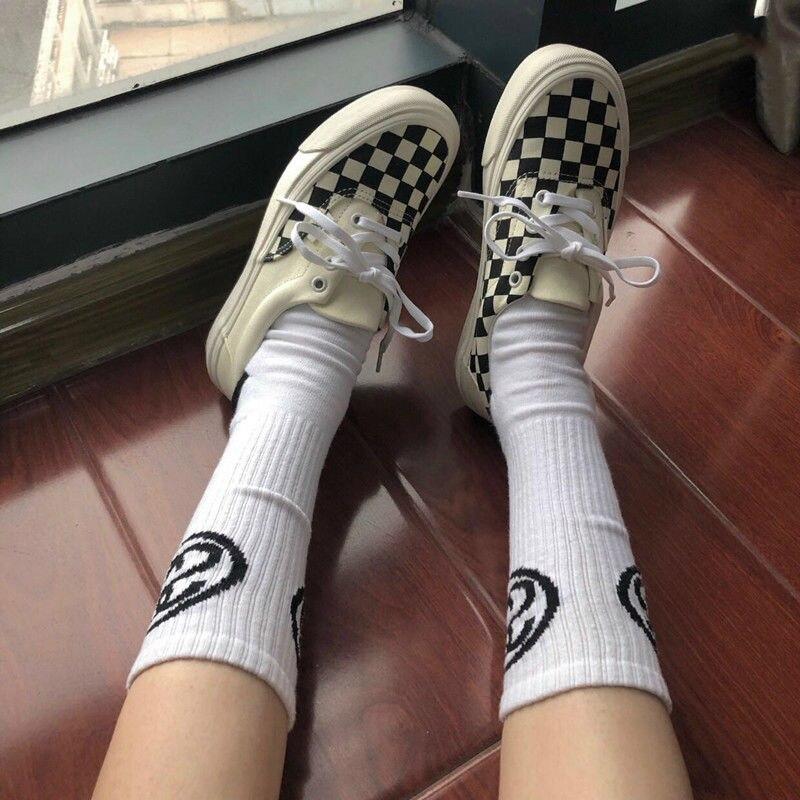 Vulcanize Shoes Couple Spring Black White Unisex Lovers And Joker Korea Canvas Lattice
