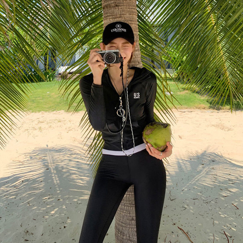 Swimsuit Female Separate Bathing Suit Women Swimwear Fused Bikinis 2019 Woman New Surf Black Long Sleeve Pants Split Cap Slim