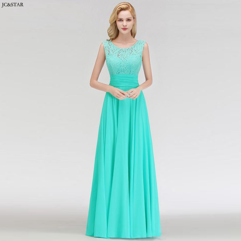 Vestido Madrinha New Lace Chiffon Scoop ALine Turquoise Bridesmaid Dress Long Vestidos Invitada Boda Mujer Cheap Robe De Mariee