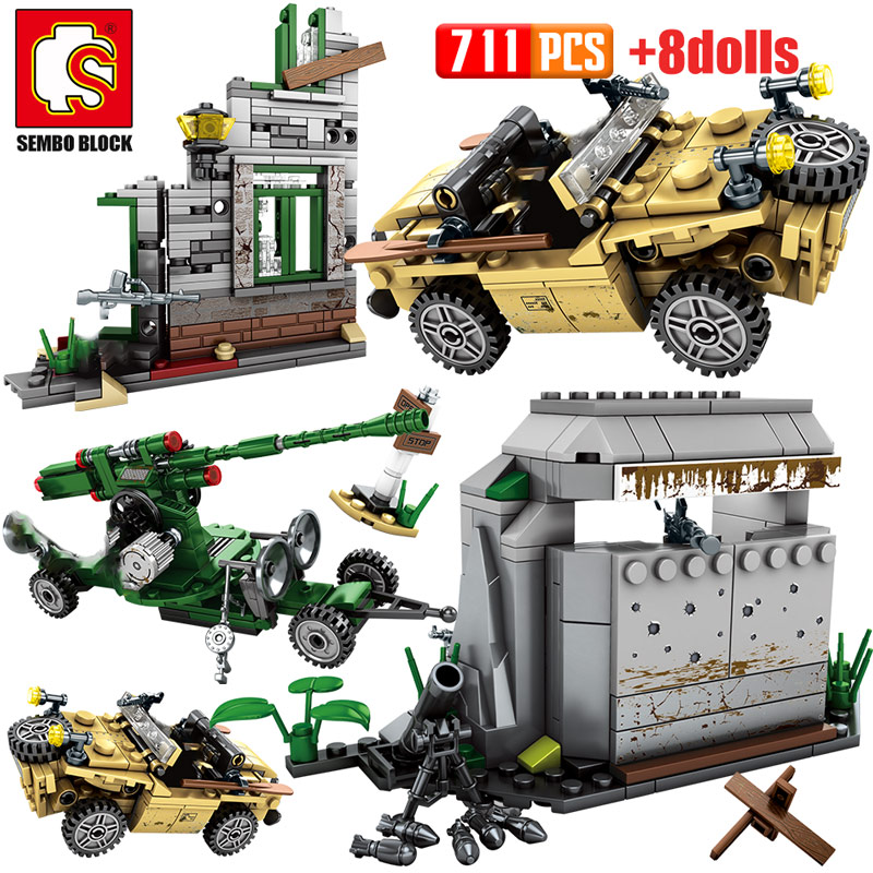 SEMBO Military Technic Chariot Army Tank Model Building Blocks WW2 Vehicles City Police Soldier Figures Bricks Toy For Boy