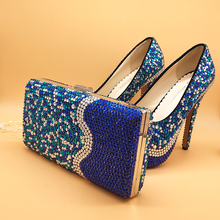 New Arrival royal blue rhinestone wedding shoes sets high shoes women's Pumps platform shoes plus size 34-43 women's party shoes bridesmaid shoes plus size sliver pearl with rhinestone wedding shoes women high heel platform shoes party prom pumps nlk a0142
