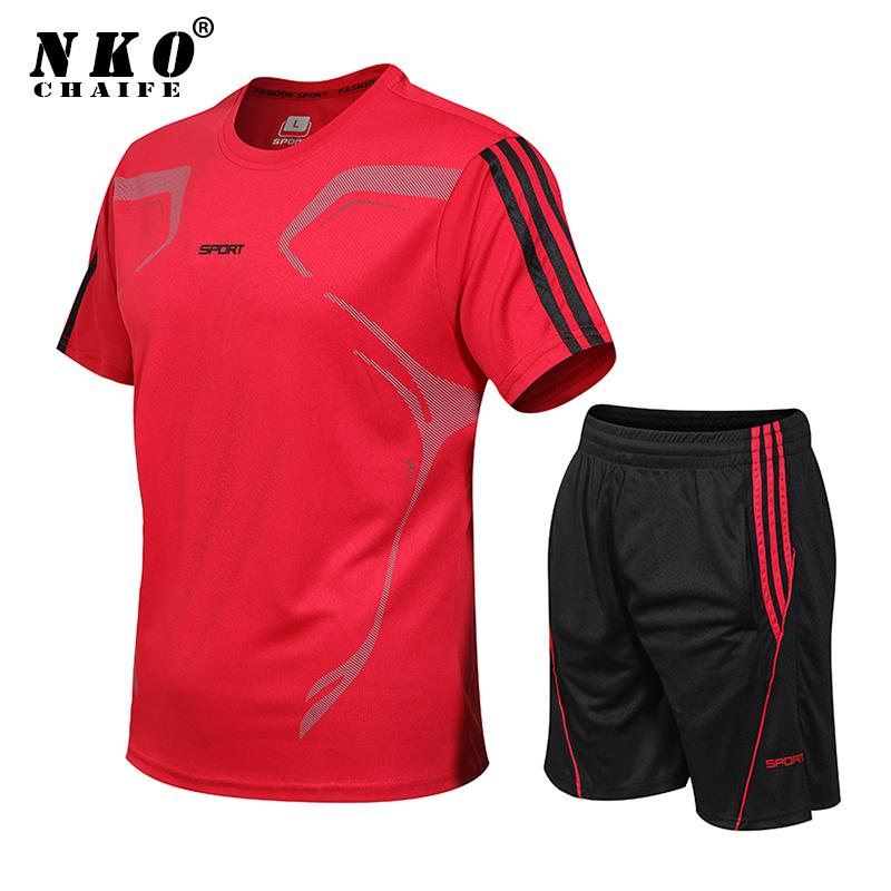 Men Plus Size 8XL Tracksuits Summer Sport Suit T Shirt Shorts Two Piece Set Quick Dry Sportswear Fitness Running Casual Suit Men