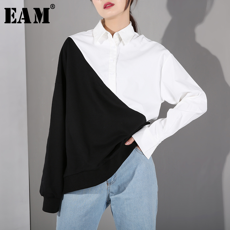 [EAM] Loose Fit Black Contrast Color Irregular Sweatshirt New Lapel Long Sleeve Women Big Size Fashion Tide Spring 2020 JC319