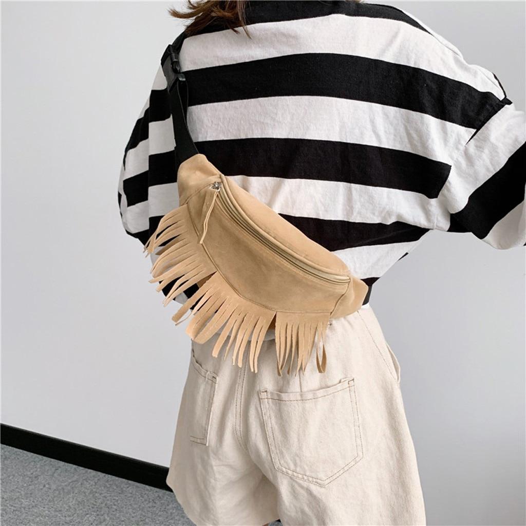 Purse Belt-Bag Messenger-Bag Waist-Pack Zipper Female Fashion Women's Sport Tassel Solid