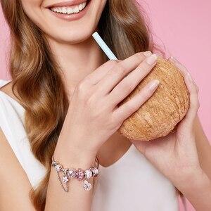 Image 5 - Athenaie na moda 925 prata esterlina claro cz sorte rosa joaninha pingente encantos ajuste feminino pulseira colar jóias diy wihite