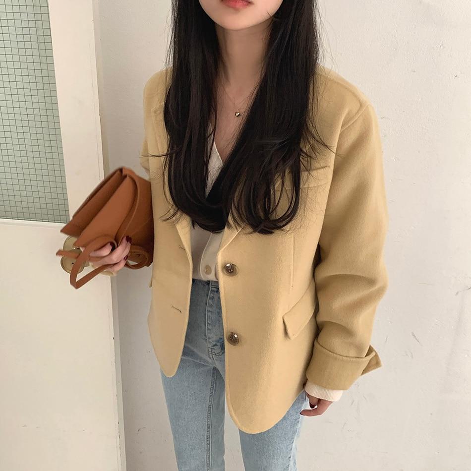 Hf7e5ecf98559445eb00b107050d19ce6A - Winter Korean Revers Collar Solid Woolen Short Coat