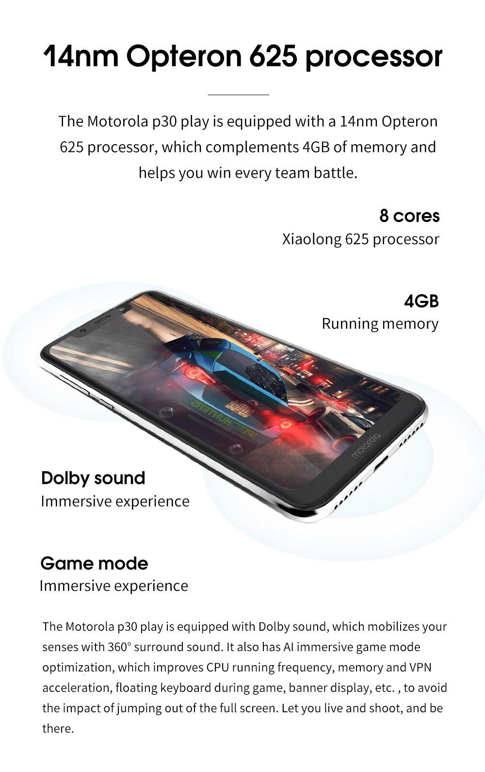 Hf7e61302ca5644e4a70b7f8609d95d8fs Moto One Mobile Phone 4GB 64GB AI Camera Smartphone 2.5D Double-sided Glass Body Octa Core Phone Support Face Fingerprint Unlock