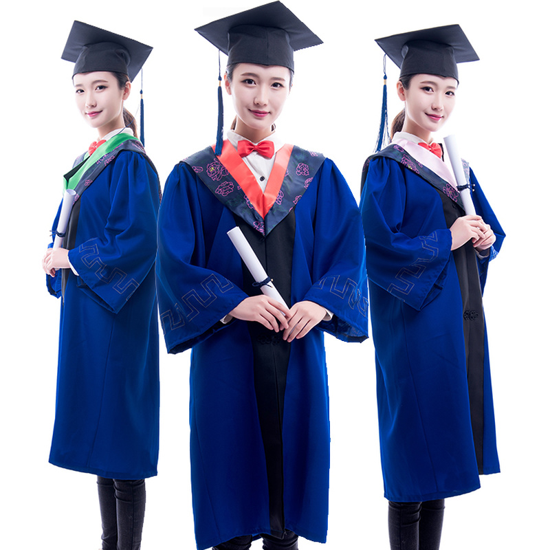 Adult Graduation Bachelor Gown Robes University Students College School Uniform Class Academic Dress Jackets Hat Cosplay Costume