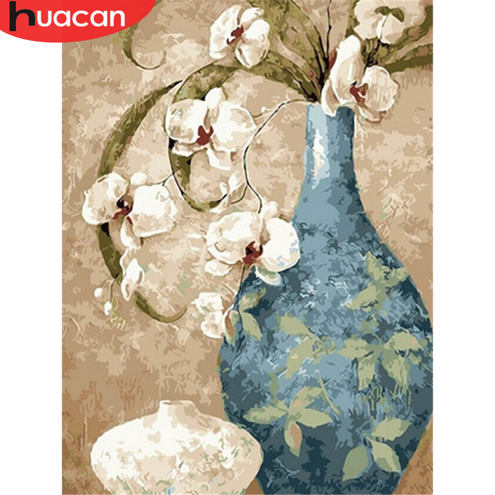 HUACAN Pictures By Numbers Oil Painting Flowers HandPainted Vase Coloring Drawing Kits Canvas DIY Home Decoration Gift