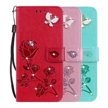 Rosa cuero flor caso para Doogee X53 X55 X6 X7 X9 Pro Mini X6S X60 X70 X60L Y6 Y8 Y8C cubierta monedero plegable con correa
