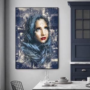 Figure painting Blue scarf Womn Painting Canvas Art Wall Print Picture Prints Figure Home Decor Canvas Home Decor No Frame
