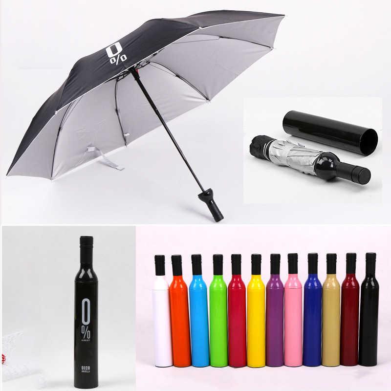 חדש Creative נשים יין בקבוק מטריית 3 קיפול שמש גשם UV מיני מטריית עבור נשים גברים מתנות גשם הילוך מטרייה מכירה