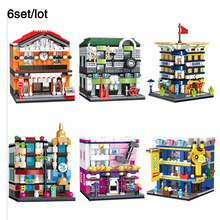 6Set/Lot compatible legoingly City Mini Street View Car TRAIN STATION Bank Concert Hall Store Building Block Kid Toy Gift