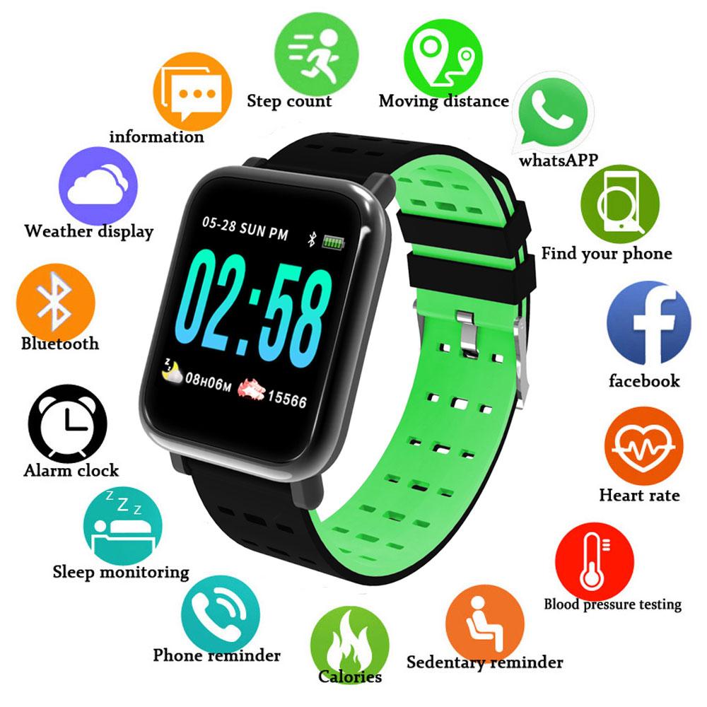 A6 Smart Wristbands Blood Pressure Measurement Wrist Tonometer Heart Rate Monitor Fitness Tracker Watch GPS Activity Tracker