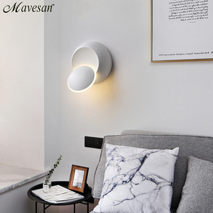 Image 3 - LED קיר מנורת 360 תואר סיבוב מתכוונן המיטה אור לבן ושחור creative מנורת קיר שחור מודרני מעבר עגול מנורה